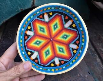 Small Huichol Beaded Gourd Medicine Bowl with Geometric Design Blue Orange, Traditional Bead Art