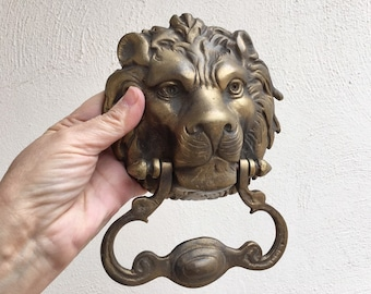 Antique Heavy Cast Iron Gold Painted Lion Door Knocker from Spanish Colonial Home in Oaxaca Mexico, Architectural Salvage