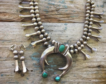 192gm Vintage Turquoise Squash Blossom Necklace, Southwestern Old Pawn Native America Indian Jewelry