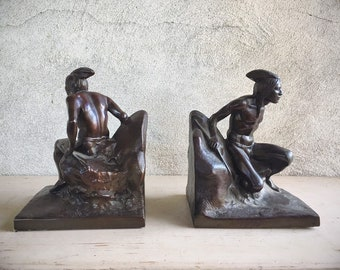 1930s Bronzed Metal Crouching Indian Warrior Bookends Vintage, Southwestern Western Home Decor