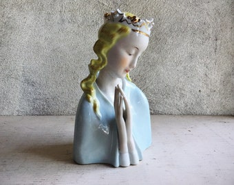 Vintage Handpainted Porcelain Praying Madonna Figurine by Thames Made in Japan, Religious Gift Catholic Christian, First Communion Baptism