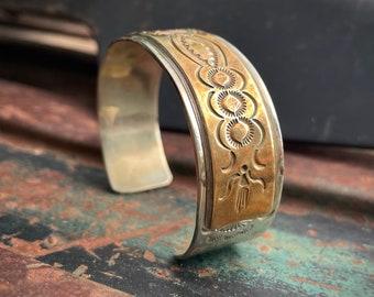47gm Navajo Thomas Francisco Sterling Silver Gold-Fill Cuff Bracelet Men Women, Vintage Native