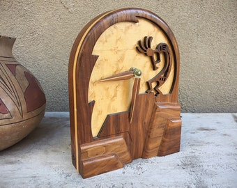 1994 Kokopelli Flute Player Mantle Clock Made of Teak Wood by Bill Zoucha, Vintage Southwestern Home Decor