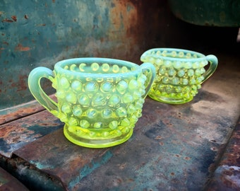 Fenton Topaz Yellow Vaseline Opalescent Hobnail Glass Small Cream and Sugar Bowl Set, Uranium Glass