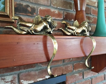 Set of Heavy Brass Angel Stocking Holders, Christmas Hanger for Mantle, Holiday Decor Hollywood Regency