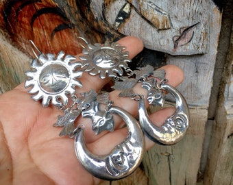 Extra Long Mexican Sterling Silver Repousse Earrings with Sun Moon Sacred Heart, Celestial Jewelry