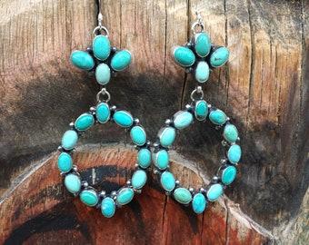 Turquoise Cluster Hoop Earrings for Women, Navajo Native American Indian Jewelry Southwestern