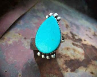 Teardrop Turquoise Ring for Women Size 6, Bohemian Jewelry, December Birthstone Birthday Gift for Her Daughter, Native American Indian Ring