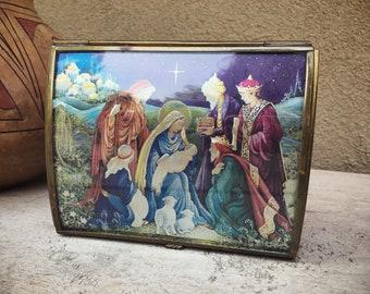 Vintage Music Box Joy to the World Nativity Scene Via Vermont Glass and Brass Trinket Box