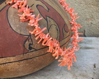 Vintage Natural Pink Coral Branch Bead Choker Necklace for Women, Southwestern Jewelry