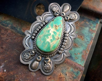 Navajo Dean Sandoval Jr. Large Sterling Silver Turquoise Ring Size 7, Native American Jewelry