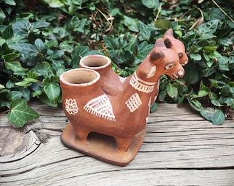 Vintage Peruvian Pottery Llama Effigy Figurine Candle Holder, Primitive Decor Southwestern