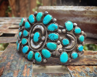 46g Old Pawn Petit Point Turquoise Cluster Cuff Bracelet for Woman, Native American Indian Jewelry