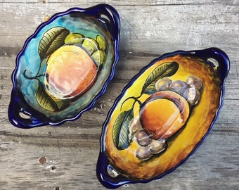 Two Small Mexican Talavera Pottery Trinket Dishes with Fruit Design, Rustic Home Southwetern Decor