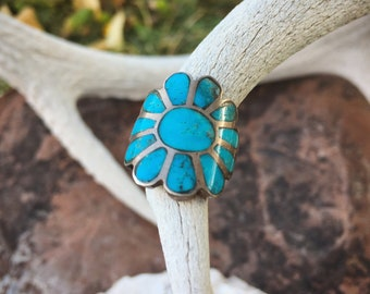 Size 5 Zuni Inlay Turquoise Flower Wraparound Ring, 1970s Native American Indian Jewelry, Boho Hippie