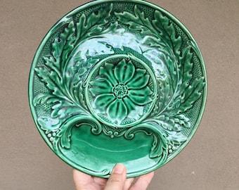 Ed Langbein Original Green Artichoke Serving Plates w/ Raised Center, Vintage French Majolica Pottery