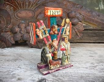 Vintage Miniature Mexican Folk Art Cross Altar Decor, Mexican Decor, Catholic Indigenous Crucifix