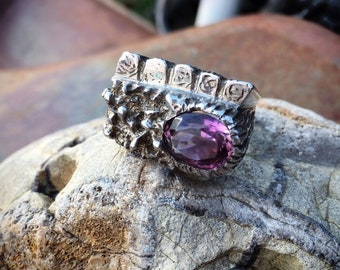 Heavy Vintage Amethyst Molten Sterling Silver Ring for Women or Men Size 7.75, Birthstone Jewelry