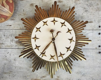 Mid Century Wall Clock Gold Metal Starburt Celestial Design Made in West Germany by Atlanta