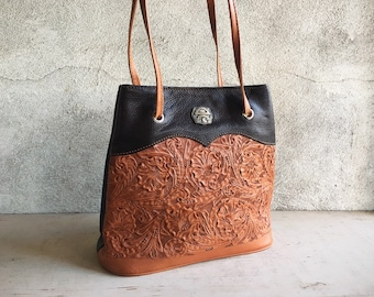 Vintage Tooled Leather Western Purse by Montana Silversmiths, Two Tone Tan Dark Brown Leather