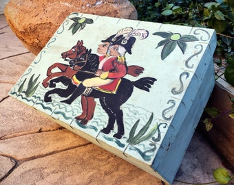 Painted Wood Box with Folk Art Colonial Scene, Primitive Style Decor, Bentwood Shaker Container Storage, Farmhouse Decor, Art Supplies Box