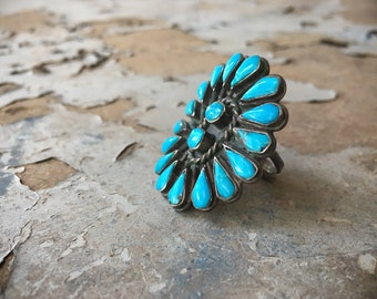 Vintage Turquoise Ring for Women Size 7.75 Native American Indian Jewelry, Old Pawn Zuni