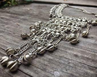 Vintage Belly Dancer Necklace with Bells Boho Jewelry Silver Tone Metal Chainmaille Bib