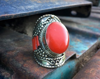 Heavy Large Vintage Tribal Ring for Women Size 11 Red Coral German Silver, Tibetan Jewelry