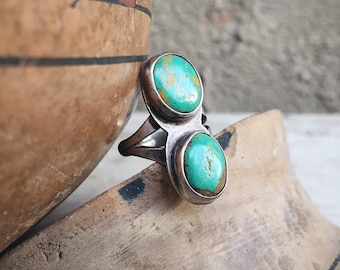 Vintage Dainty Turquoise Ring for Women Size 4.75 Signed Navajo Native America Indian Jewelry
