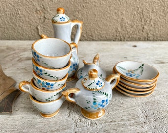 Miniature Tea Set for Five with 15 Pieces, Blue Green Flower Gray Background, Tiny Coffee Pot