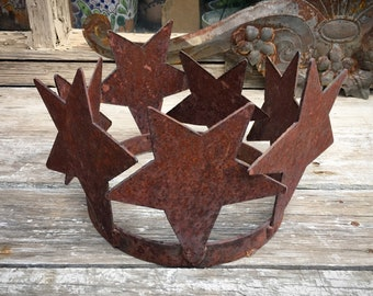 Rustic Metal Plant Ring Potted Plant Holder with Star Design, Tabletop Centerpiece Indoor Outdoor