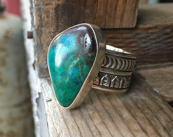 Stamped Sterling Silver Wide Band Cyan Chrysocolla Ring, Navajo Native American Indian Jewelry
