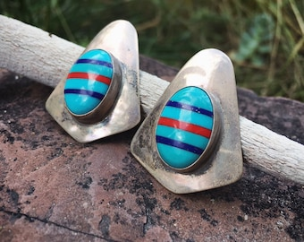 Vintage Channel Inlay Turquoise Lapis Coral Post Earrings for Women, Southwestern Native American Indian Jewelry