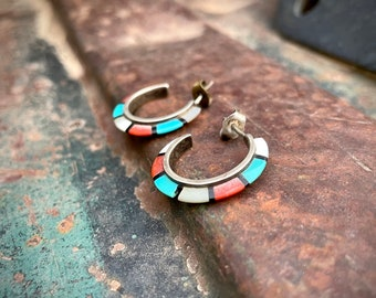Small Channel Inlay Hoop Earrings with Turquoise Coral Mother of Pearl, Southwestern Jewelry