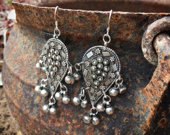 Vintage Sterling Silver Earrings with Balls Clip On Israeli Art Deco Style Jewelry