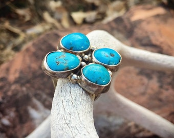Large Vintage Turquoise Ring for Women Size 6.75, Signed Navajo Native American Indian Jewelry