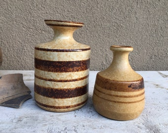 1970s Pair of Striped Stoneware Pottery Weed Pots, Art Studio Pottery Earth Tone Ceramic Bud Vases