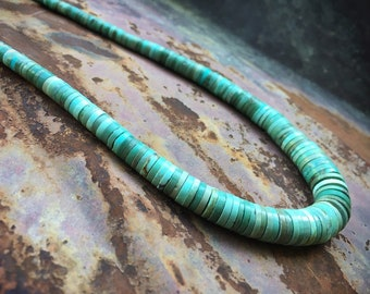 Turquoise Disc Heishi Choker Necklace for Women, Native American Indian Santo Domingo Jewelry