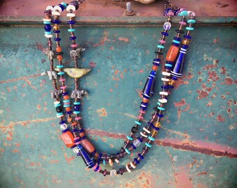 Three Strand Cobalt Blue Glass Bead and Animal Fetish Necklace, Southwestern Native American Style