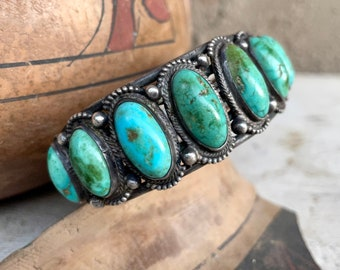 Vintage Natural Turquoise Cuff Bracelet Size 7.25, Ingot Wire, Collectible Native American Jewelry