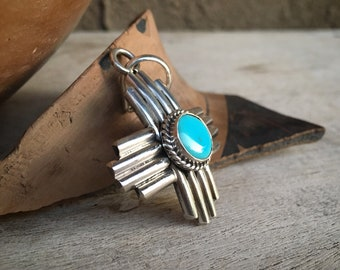 Sterling Silver and Turquoise Zia Pendant for Necklace, Native America Indian Jewelry Sun Design