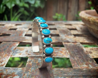 Turquoise Cuff Bracelet Navajo Jewelry Row Bracelet Native American Indian Turquoise Jewelry