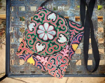 Vintage embroidered fabric purses crossbody bags ethnic hippie small tote shoulder tote