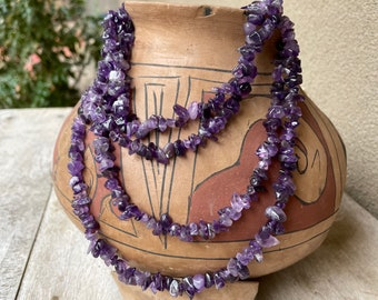 """60"""" Strand 114g Tumbled Nugget Beads Shades Purple Amethyst Color Stones, Boho Jewelry Making"""