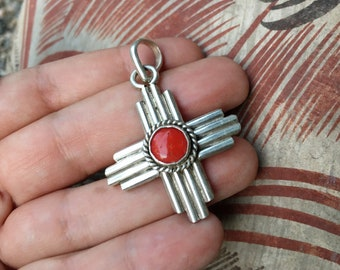 Sterling Silver and Red Coral Zia Pendant for Necklace, Native America Indian Jewelry Sun Design