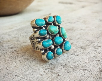 Vintage Large Navajo Cluster Turquoise Ring for Women Size 8.75, Native American Indian Jewelry