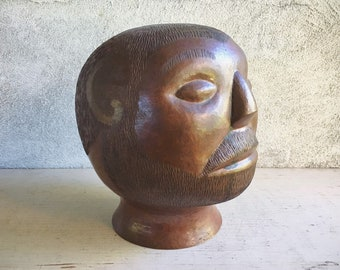 Vintage Modernist Copper Head Sculpture from Santa Clara de Cobre Mexico, Mid Century Modern Decor