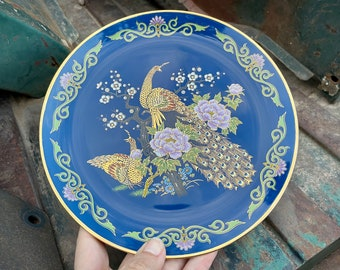 "Vintage Japanese Porcelain Peacock Decorative 8"" Plate Deep Blue with Gilt, Cabinet Display"