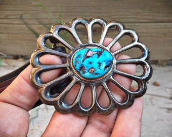 1970s Sandcast Silver Turquoise Stone Belt Buckle for Men Women on Brown Leather Dress Belt, Native American Indian