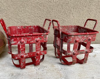 Pair of Rustic Red Chippy Metal Small Baskets for Outdoors Indoors, Shabby Table Decoration